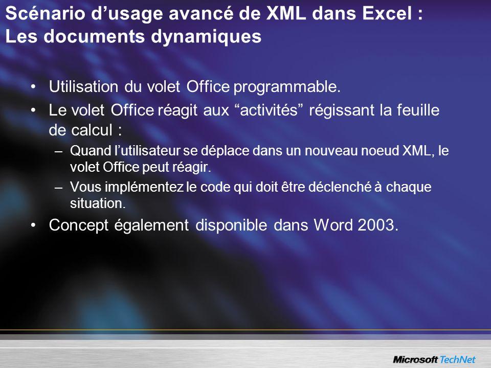 Scénario dusage avancé de XML dans Excel : Les documents dynamiques Utilisation du volet Office programmable. Le volet Office réagit aux activités rég
