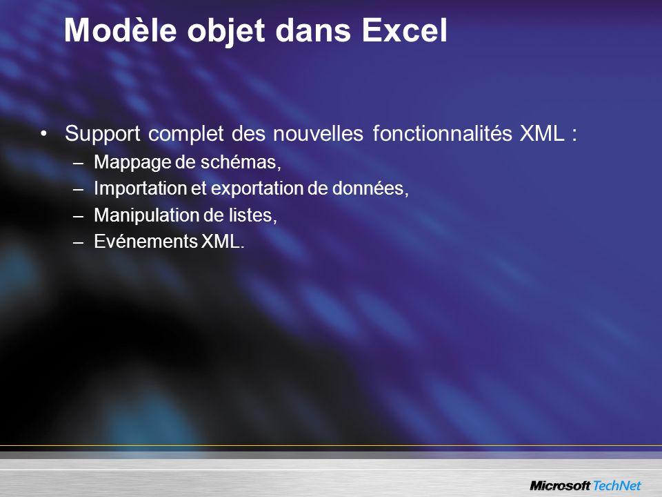 Modèle objet dans Excel Support complet des nouvelles fonctionnalités XML : –Mappage de schémas, –Importation et exportation de données, –Manipulation