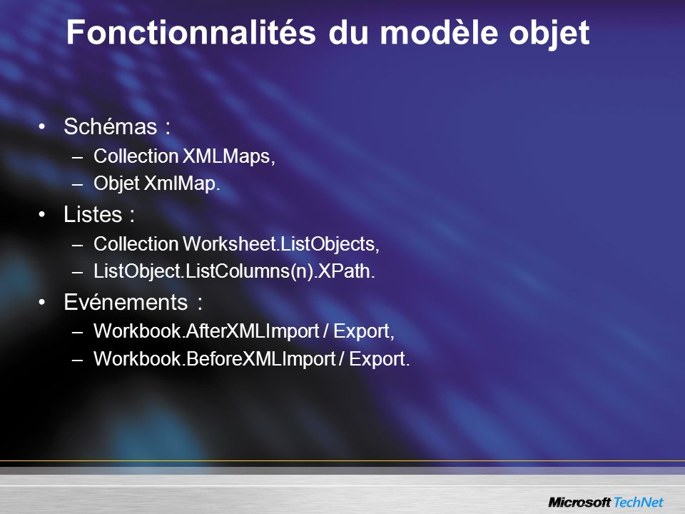 Fonctionnalités du modèle objet Schémas : –Collection XMLMaps, –Objet XmlMap. Listes : –Collection Worksheet.ListObjects, –ListObject.ListColumns(n).X