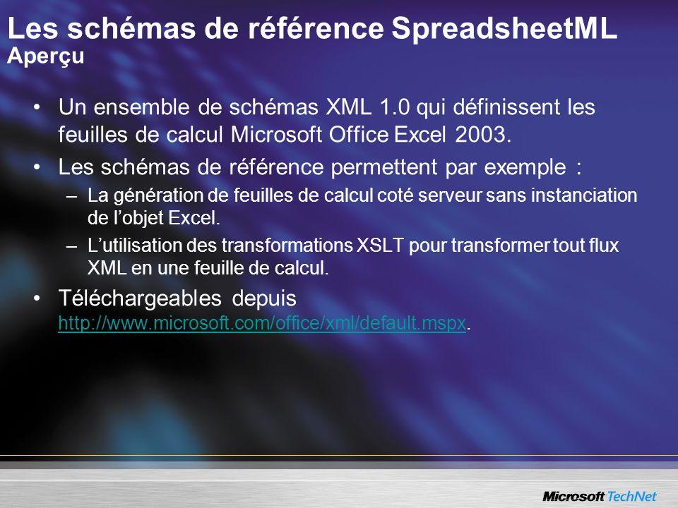 Les schémas de référence SpreadsheetML Aperçu Un ensemble de schémas XML 1.0 qui définissent les feuilles de calcul Microsoft Office Excel 2003. Les s