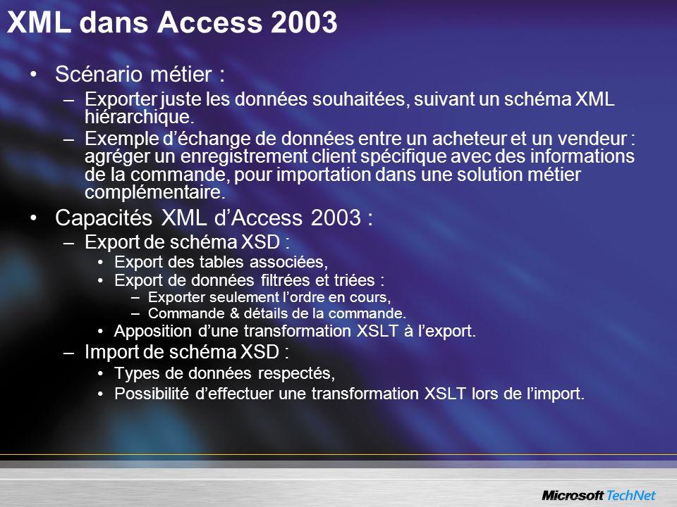 XML dans Access 2003 Scénario métier : –Exporter juste les données souhaitées, suivant un schéma XML hiérarchique. –Exemple déchange de données entre