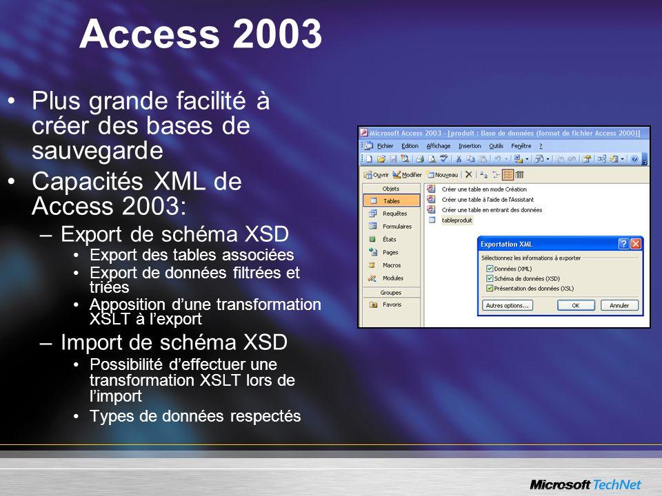 Access 2003 Plus grande facilité à créer des bases de sauvegarde Capacités XML de Access 2003: –Export de schéma XSD Export des tables associées Expor