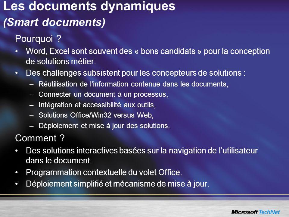 Les documents dynamiques (Smart documents) Pourquoi ? Word, Excel sont souvent des « bons candidats » pour la conception de solutions métier. Des chal
