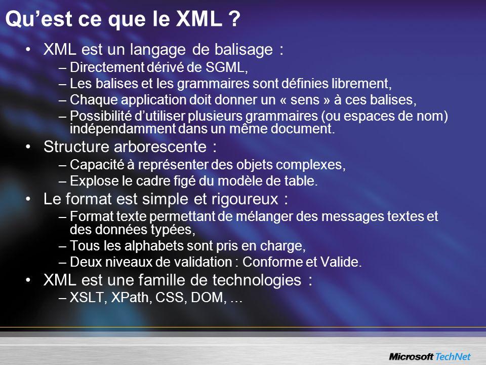 Quest ce que le XML ? XML est un langage de balisage : – Directement dérivé de SGML, – Les balises et les grammaires sont définies librement, – Chaque