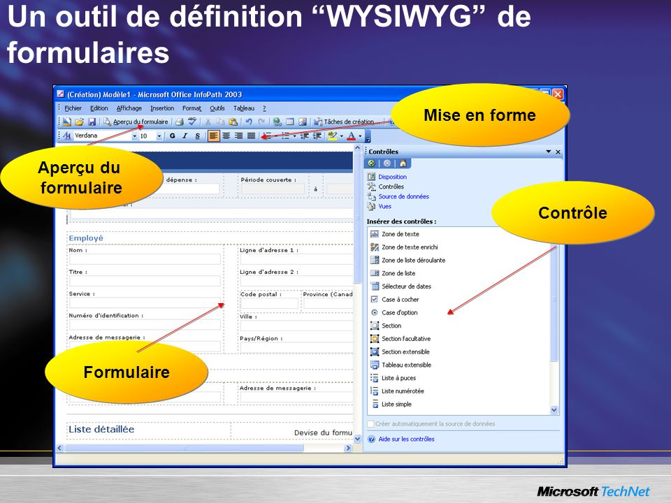 Un outil de définition WYSIWYG de formulaires Contrôle Formulaire Mise en forme Aperçu du formulaire Aperçu du formulaire