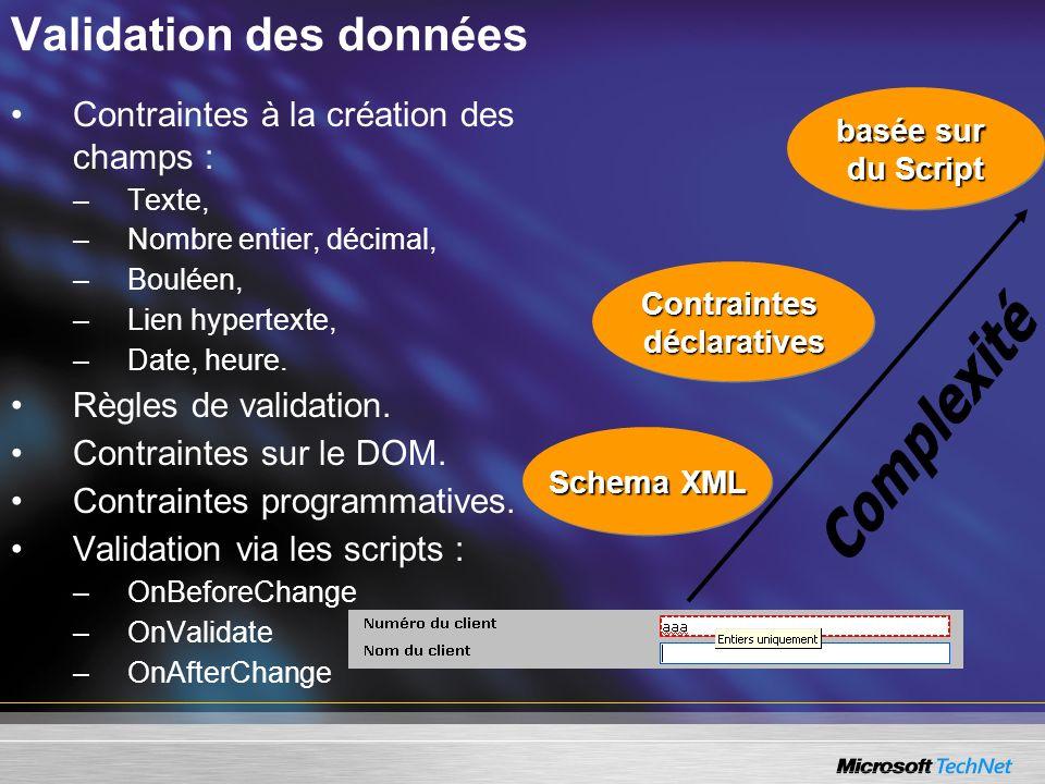Validation des données Schema XML ContraintesdéclarativesContraintesdéclaratives basée sur du Script basée sur du Script Contraintes à la création des