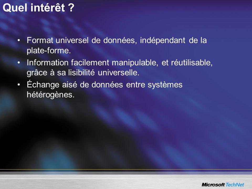 Quel intérêt ? Format universel de données, indépendant de la plate-forme. Information facilement manipulable, et réutilisable, grâce à sa lisibilité