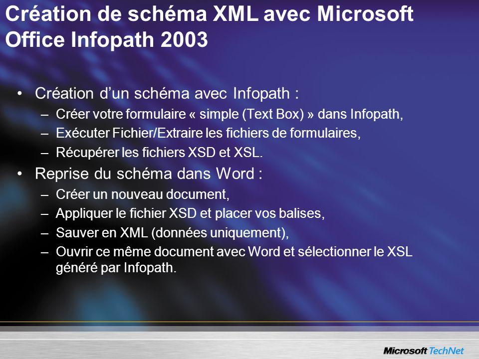 Création de schéma XML avec Microsoft Office Infopath 2003 Création dun schéma avec Infopath : –Créer votre formulaire « simple (Text Box) » dans Info