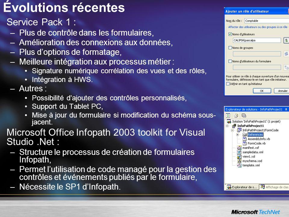 Évolutions récentes Service Pack 1 : –Plus de contrôle dans les formulaires, –Amélioration des connexions aux données, –Plus doptions de formatage, –M