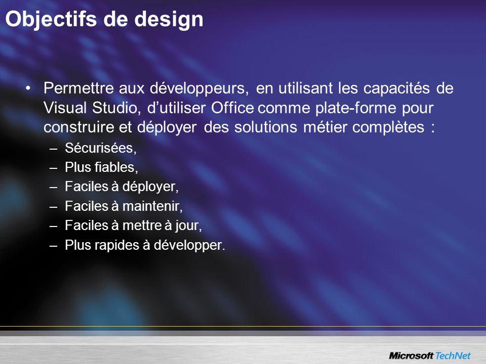Objectifs de design Permettre aux développeurs, en utilisant les capacités de Visual Studio, dutiliser Office comme plate-forme pour construire et dép