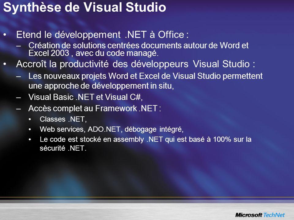 Synthèse de Visual Studio Etend le développement.NET à Office : –Création de solutions centrées documents autour de Word et Excel 2003, avec du code m