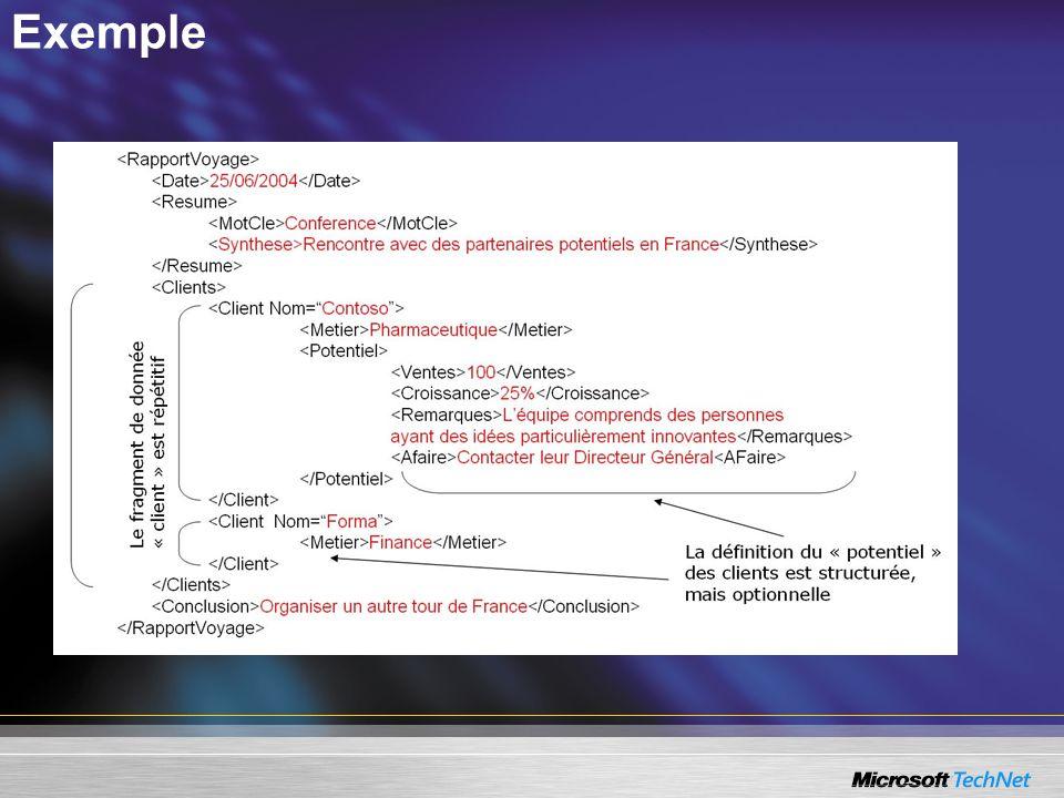 Création de schéma XML avec Microsoft Office Infopath 2003 Création dun schéma avec Infopath : –Créer votre formulaire « simple (Text Box) » dans Infopath, –Exécuter Fichier/Extraire les fichiers de formulaires, –Récupérer les fichiers XSD et XSL.
