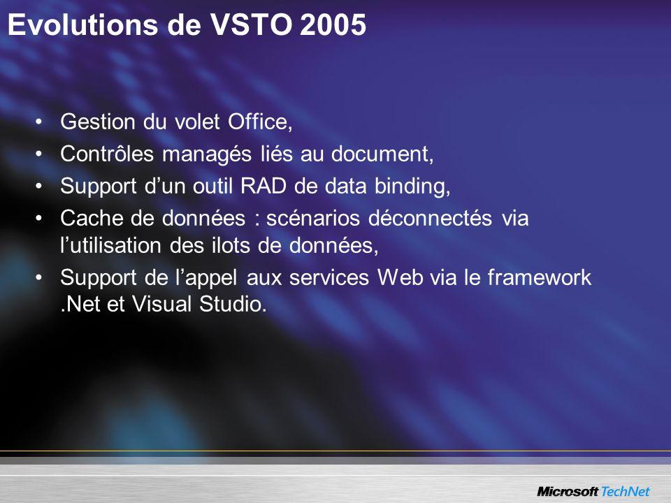 Evolutions de VSTO 2005 Gestion du volet Office, Contrôles managés liés au document, Support dun outil RAD de data binding, Cache de données : scénari