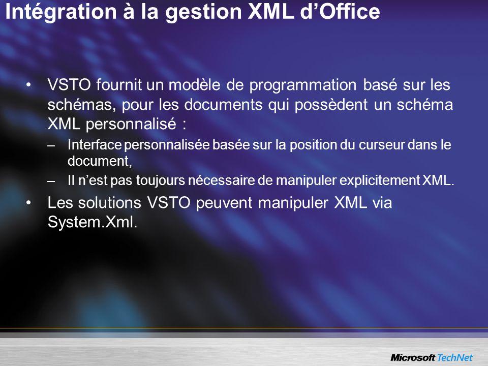 Intégration à la gestion XML dOffice VSTO fournit un modèle de programmation basé sur les schémas, pour les documents qui possèdent un schéma XML pers
