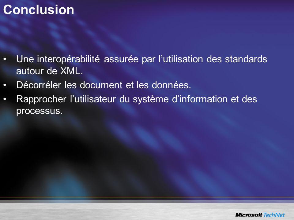 Une interopérabilité assurée par lutilisation des standards autour de XML. Décorréler les document et les données. Rapprocher lutilisateur du système