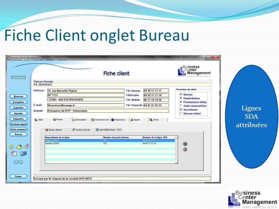 Fiche Client onglet Bureau Lignes SDA attribuées