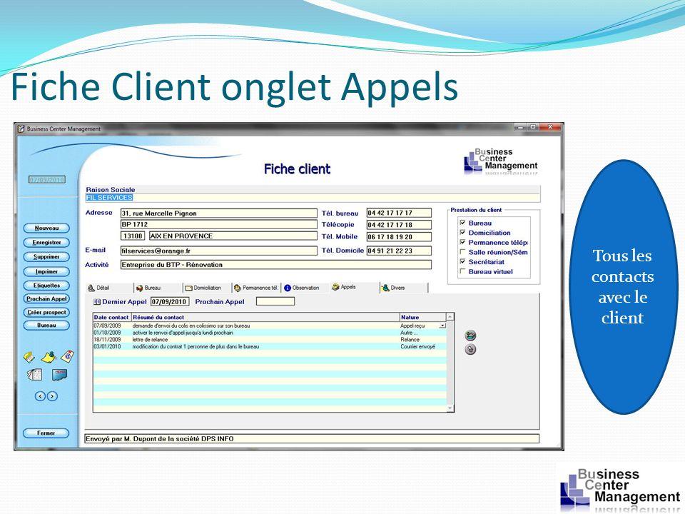 Fiche Client onglet Appels Tous les contacts avec le client