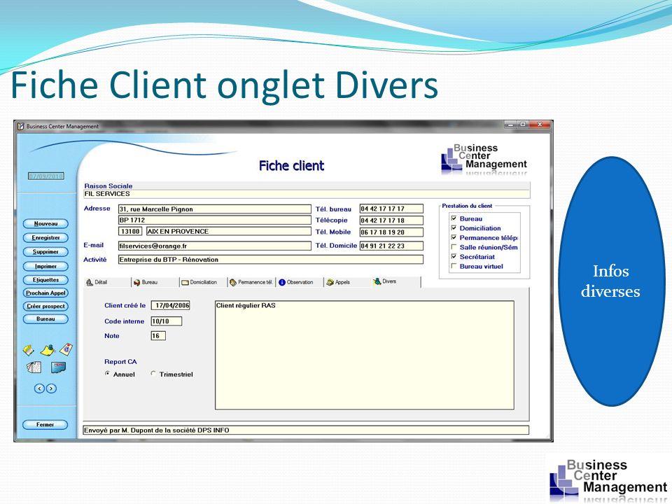 Fiche Client onglet Divers Infos diverses