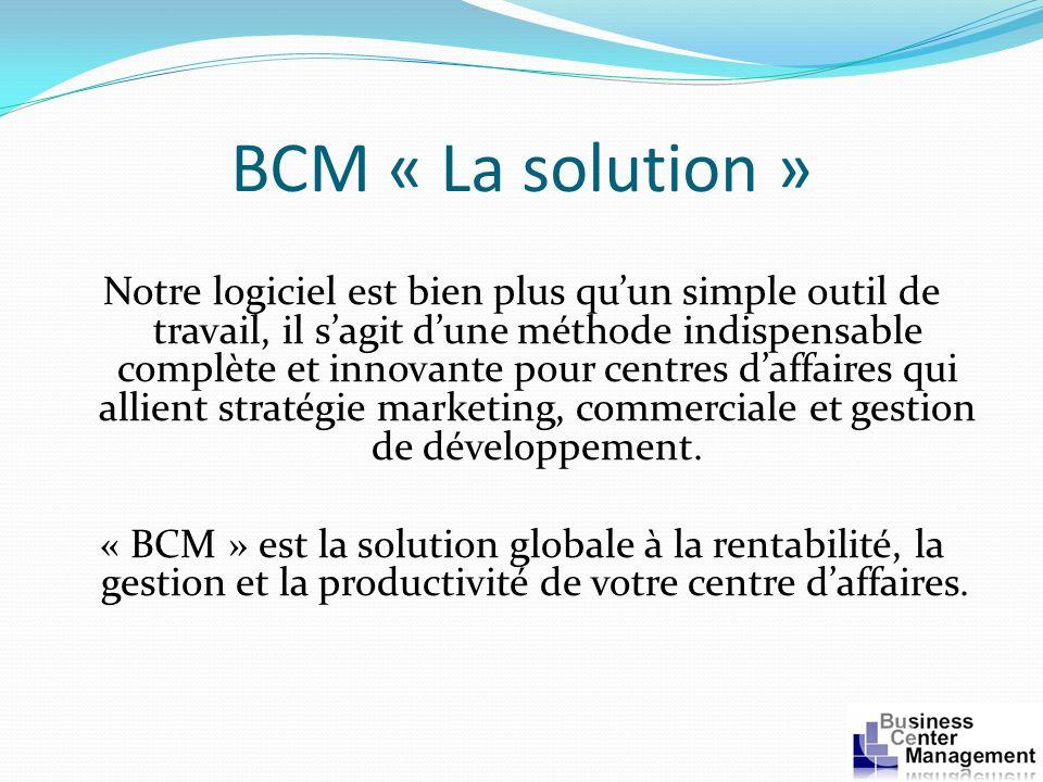 BCM « La solution » Notre logiciel est bien plus quun simple outil de travail, il sagit dune méthode indispensable complète et innovante pour centres