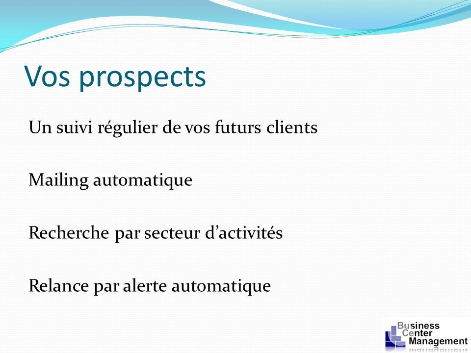 Vos prospects Un suivi régulier de vos futurs clients Mailing automatique Recherche par secteur dactivités Relance par alerte automatique