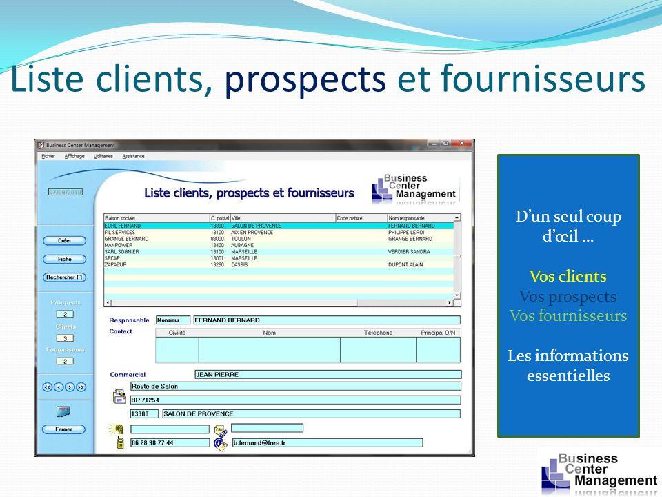 Liste clients, prospects et fournisseurs Dun seul coup dœil … Vos clients Vos prospects Vos fournisseurs Les informations essentielles
