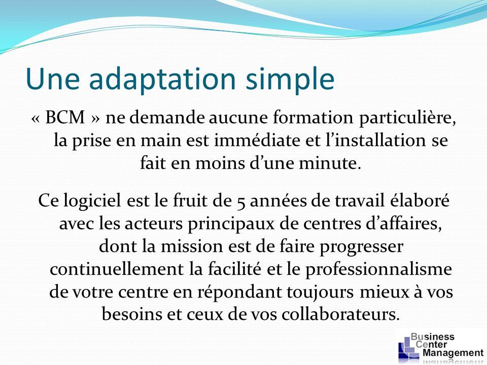 Une adaptation simple « BCM » ne demande aucune formation particulière, la prise en main est immédiate et linstallation se fait en moins dune minute.