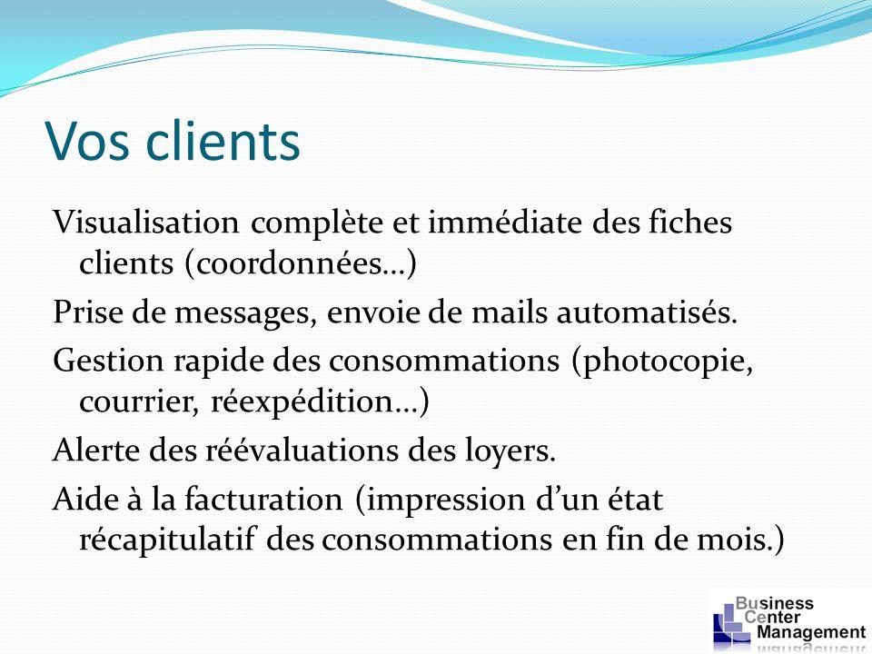 Vos clients Visualisation complète et immédiate des fiches clients (coordonnées…) Prise de messages, envoie de mails automatisés. Gestion rapide des c