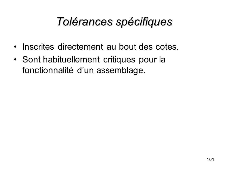Tolérances spécifiques Inscrites directement au bout des cotes. Sont habituellement critiques pour la fonctionnalité dun assemblage. 101