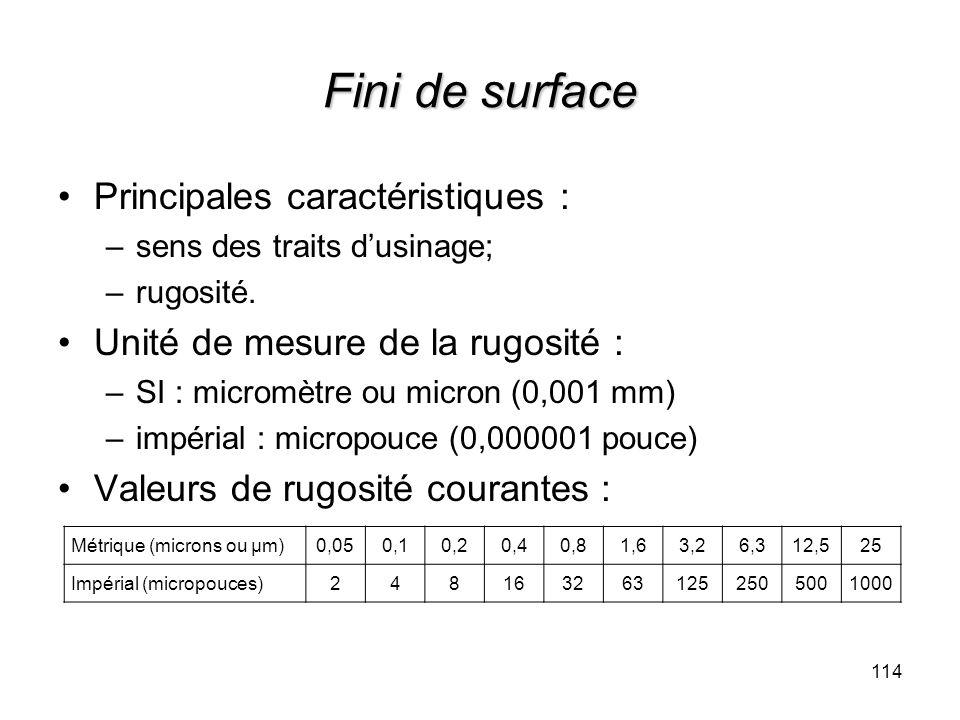 Fini de surface Principales caractéristiques : –sens des traits dusinage; –rugosité. Unité de mesure de la rugosité : –SI : micromètre ou micron (0,00