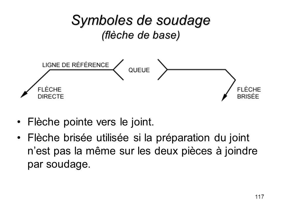 Symboles de soudage (flèche de base) Flèche pointe vers le joint. Flèche brisée utilisée si la préparation du joint nest pas la même sur les deux pièc