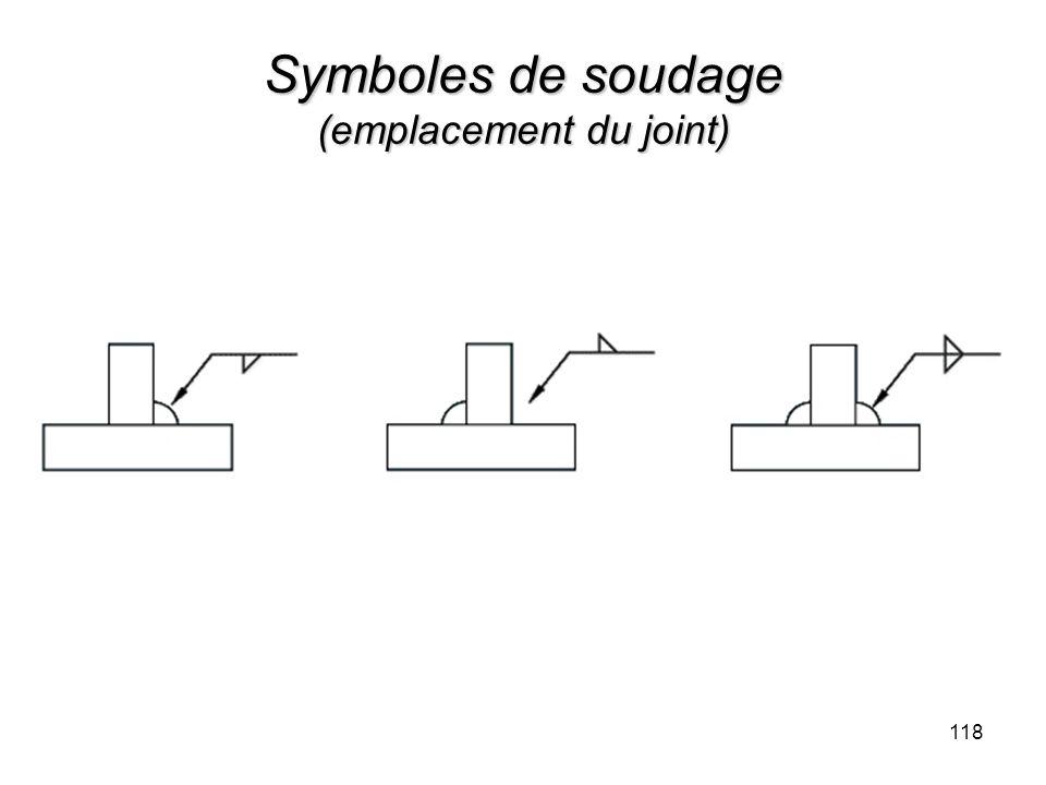 Symboles de soudage (emplacement du joint) 118