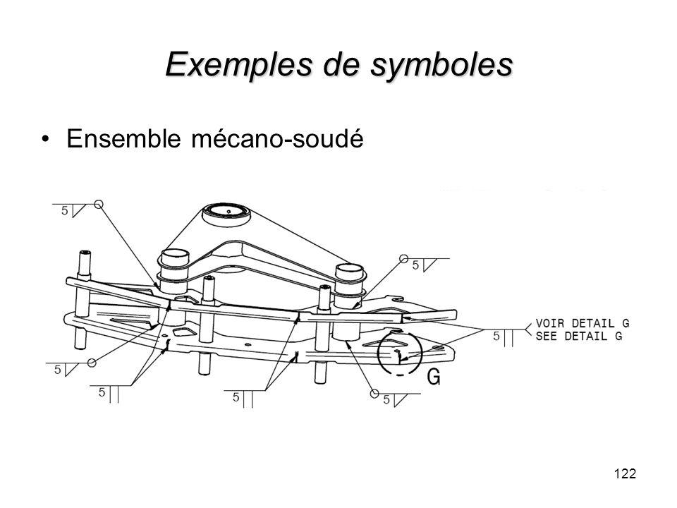 Exemples de symboles Ensemble mécano-soudé 122