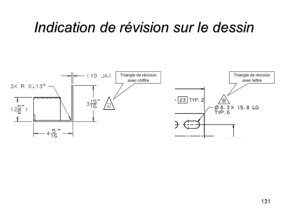 Indication de révision sur le dessin 131