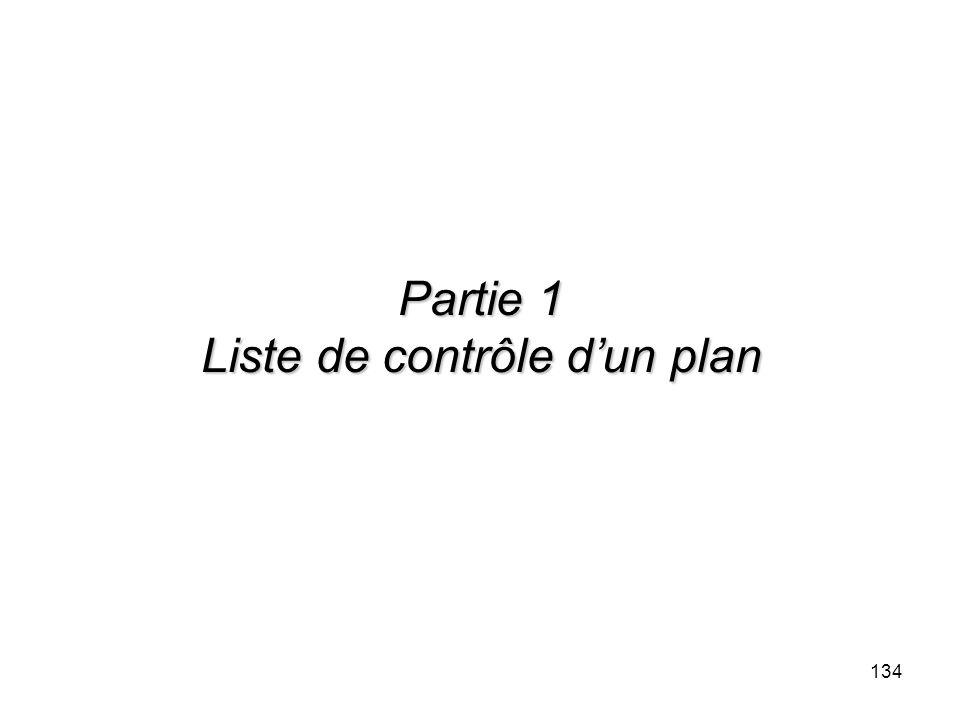 134 Partie 1 Liste de contrôle dun plan