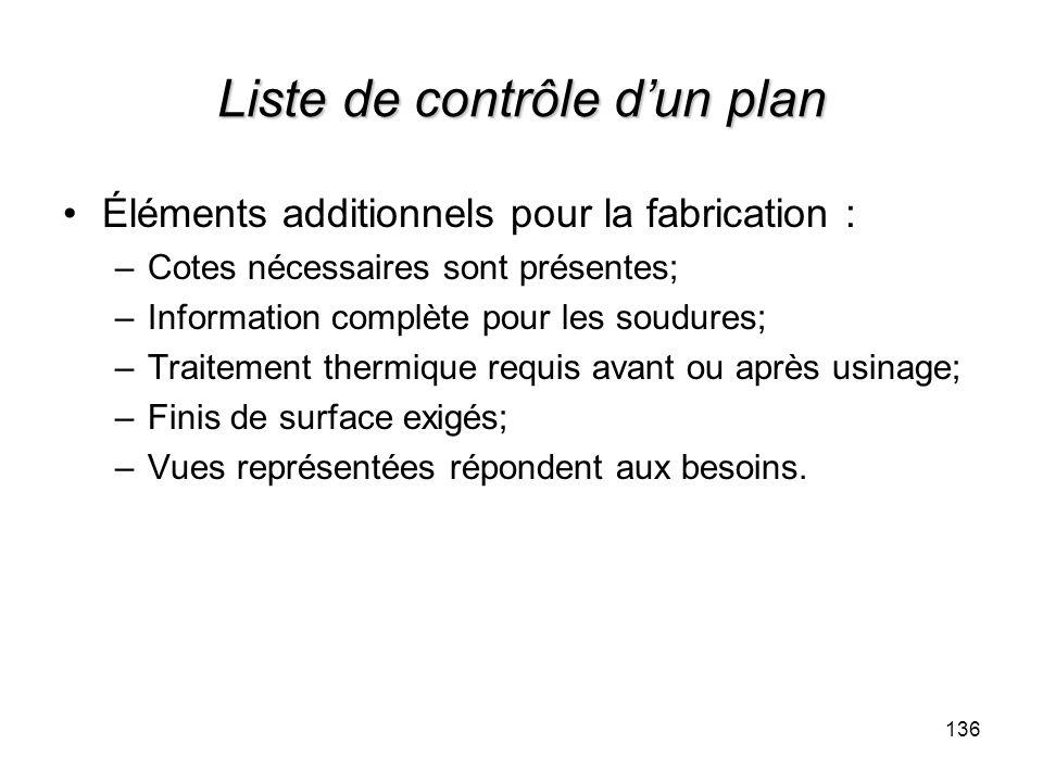 136 Liste de contrôle dun plan Éléments additionnels pour la fabrication : –Cotes nécessaires sont présentes; –Information complète pour les soudures;