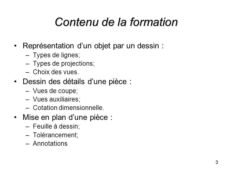 3 Contenu de la formation Représentation dun objet par un dessin : –Types de lignes; –Types de projections; –Choix des vues. Dessin des détails dune p