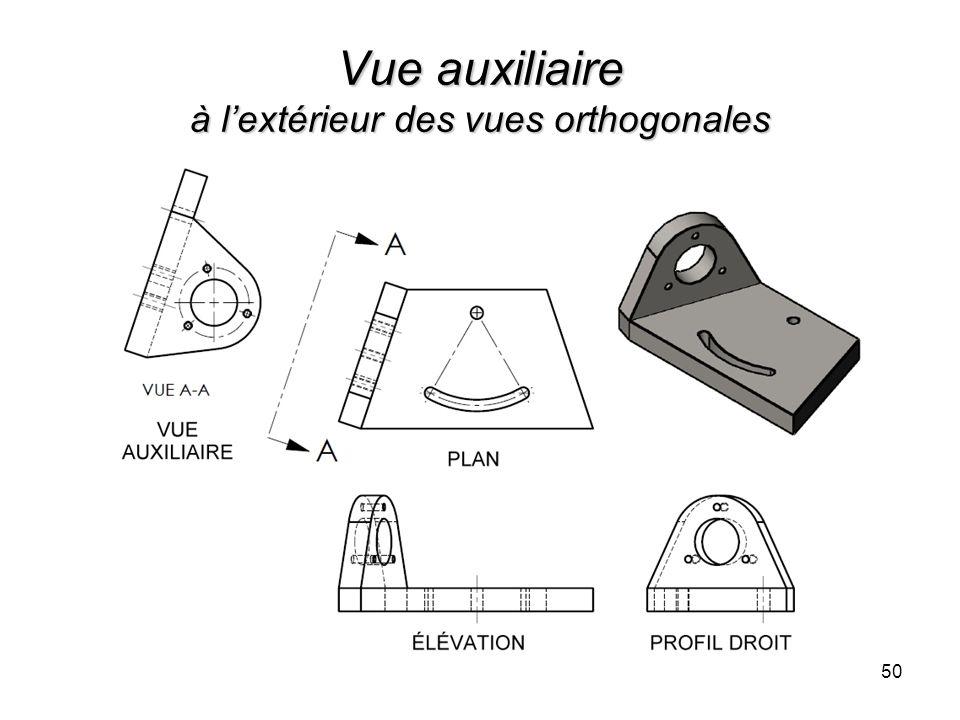 Vue auxiliaire à lextérieur des vues orthogonales 50