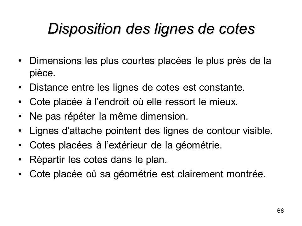 Disposition des lignes de cotes Dimensions les plus courtes placées le plus près de la pièce. Distance entre les lignes de cotes est constante. Cote p