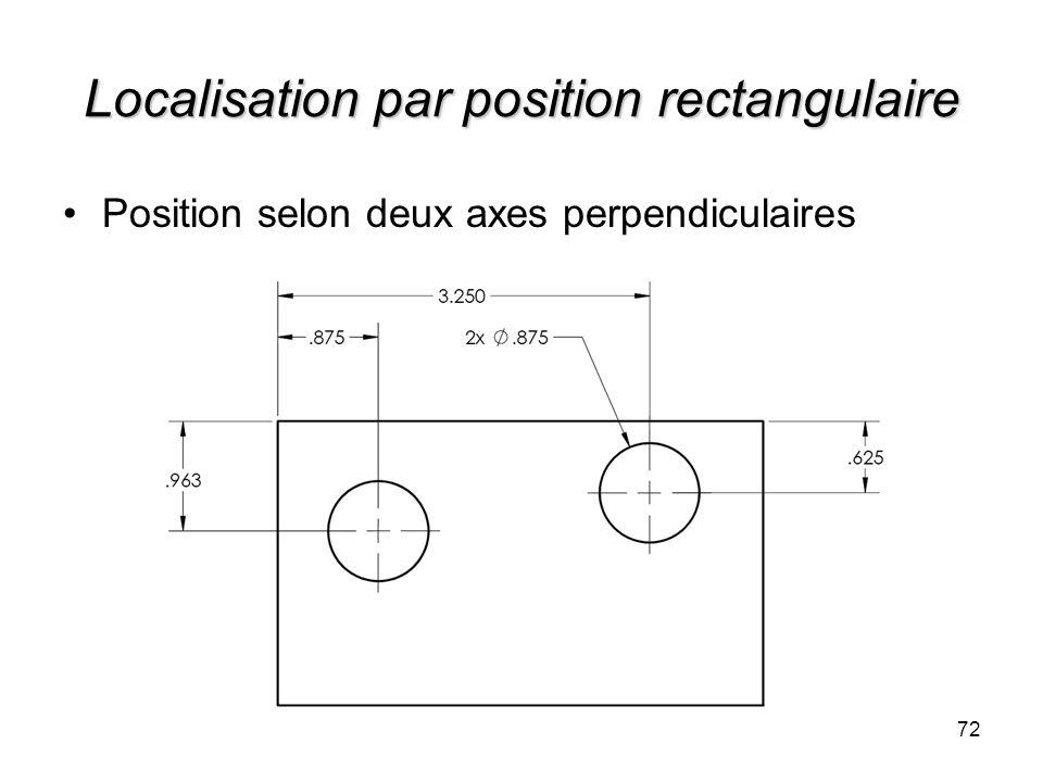 Localisation par position rectangulaire 72 Position selon deux axes perpendiculaires