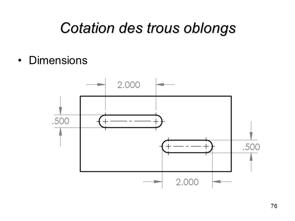 Cotation des trous oblongs 76 Dimensions