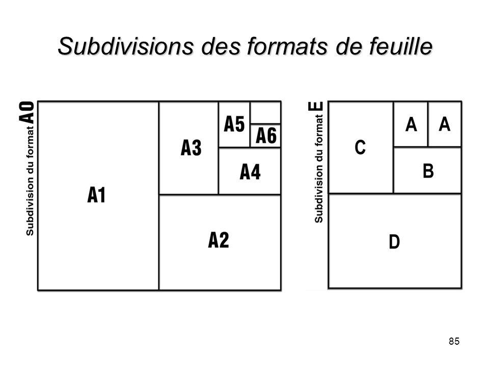 Subdivisions des formats de feuille 85