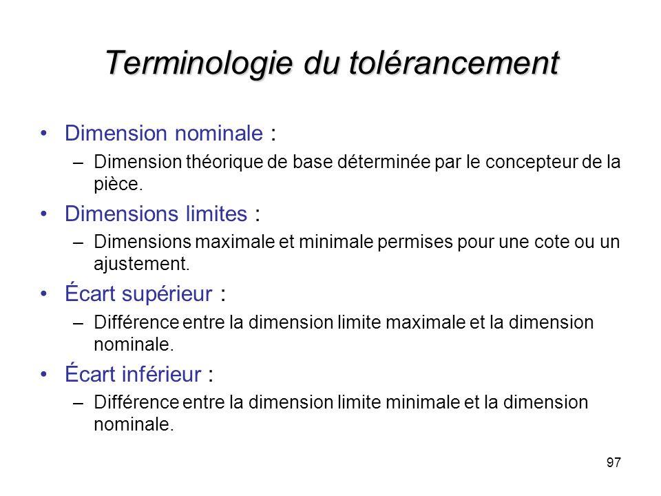 Terminologie du tolérancement Dimension nominale : –Dimension théorique de base déterminée par le concepteur de la pièce. Dimensions limites : –Dimens