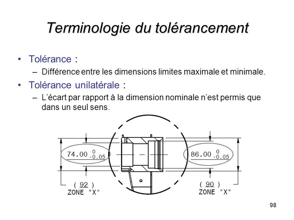 Terminologie du tolérancement Tolérance : –Différence entre les dimensions limites maximale et minimale. Tolérance unilatérale : –Lécart par rapport à