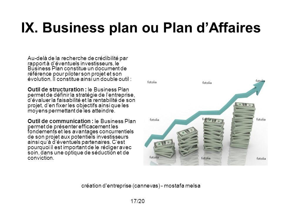 création d'entreprise (cannevas) - mostafa melsa 17/20 IX. Business plan ou Plan dAffaires Au-delà de la recherche de crédibilité par rapport à dévent