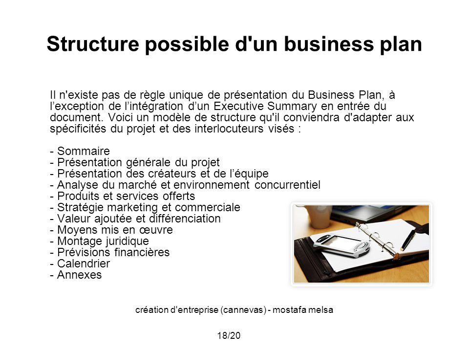 création d'entreprise (cannevas) - mostafa melsa 18/20 Structure possible d'un business plan Il n'existe pas de règle unique de présentation du Busine