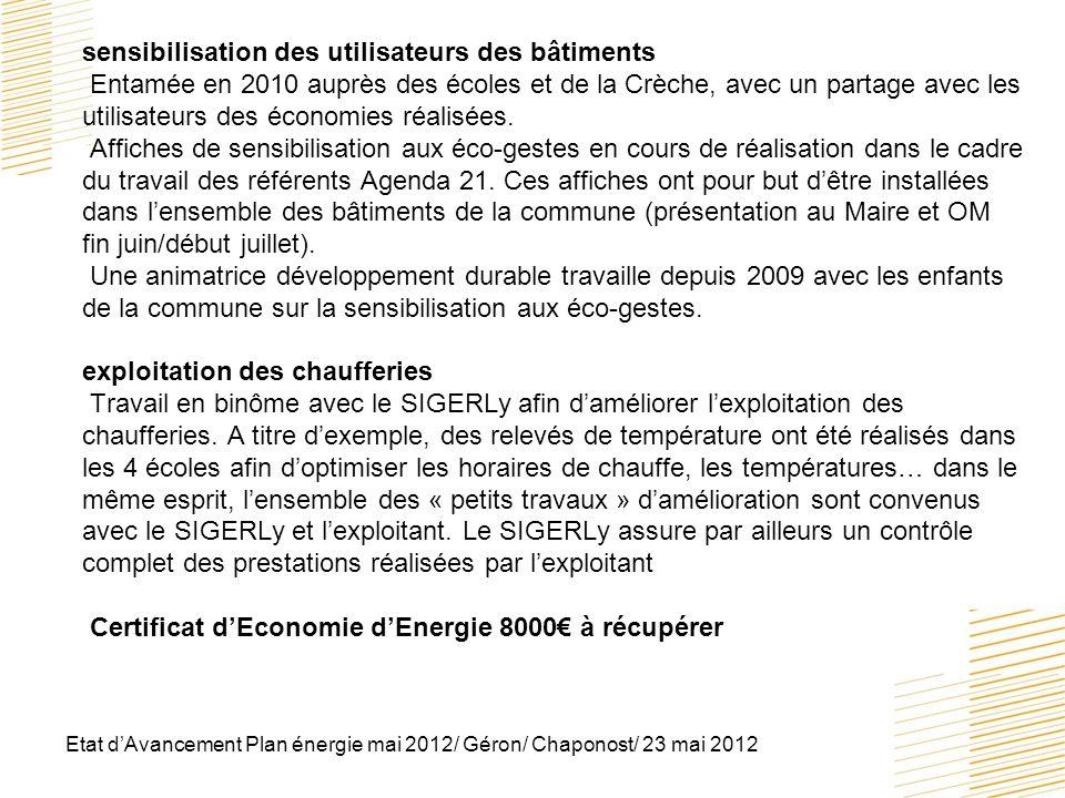 Etat dAvancement Plan énergie mai 2012/ Géron/ Chaponost/ 23 mai 2012 sensibilisation des utilisateurs des bâtiments Entamée en 2010 auprès des écoles