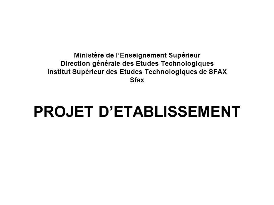 Ministère de lEnseignement Supérieur Direction générale des Etudes Technologiques Institut Supérieur des Etudes Technologiques de SFAX Sfax PROJET DET