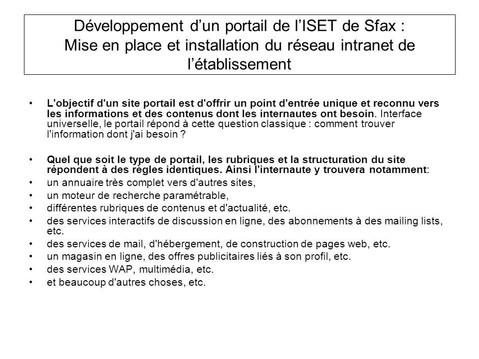 Développement dun portail de lISET de Sfax : Mise en place et installation du réseau intranet de létablissement L'objectif d'un site portail est d'off