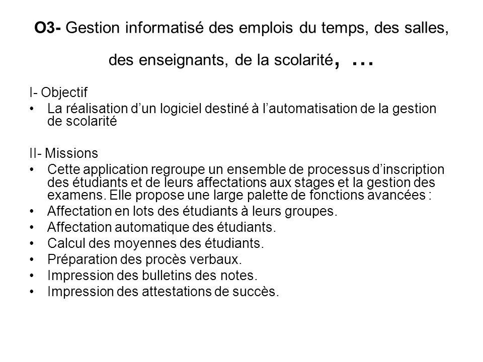 O3- Gestion informatisé des emplois du temps, des salles, des enseignants, de la scolarité,... I- Objectif La réalisation dun logiciel destiné à lauto