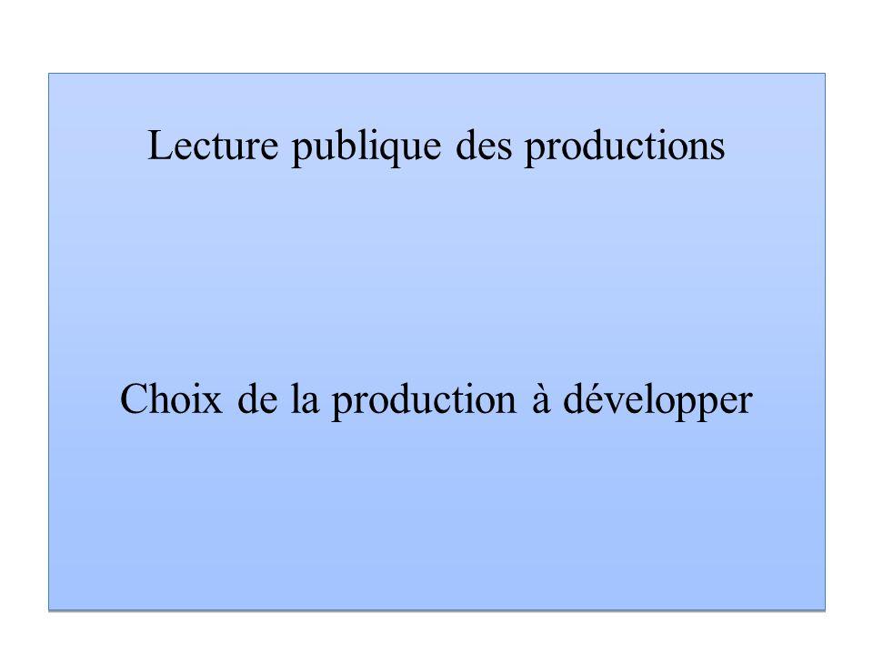 Lecture publique des productions Choix de la production à développer Lecture publique des productions Choix de la production à développer